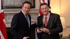 Clive Smith was presented with his South Atlantic Medal by David Cameron