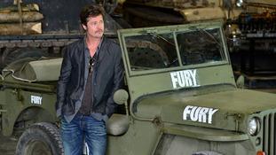 Brad Pitt at the tank museum in Dorset