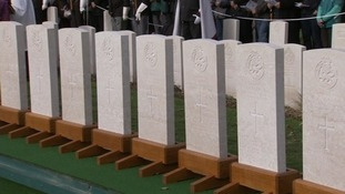 The Commonwealth War Graves Commission Y-Farm Cemetery is prepared for the service.