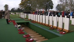 Wreaths of poppies were lain by the graves of the soldiers.