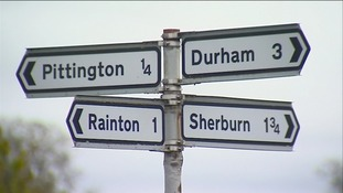 Signpost of villages in East Durham