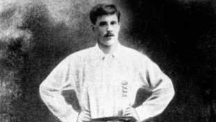 Vivian Woodward photographed in the England kit on 1909