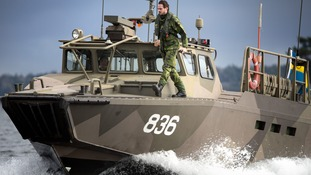 Swedish marines seen earlier this week near Stockholm in a search for possible underwater activity.