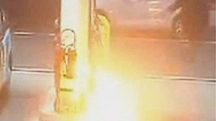 The blaze was captured on the petrol station's CCTV.