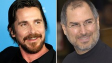 Christian Bale, left, will play Steve Jobs in a new film about the Apple co-founder's life.