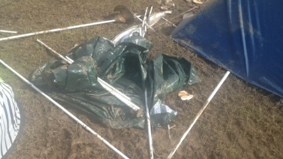 tents destroyed by the weather on the isle of wight