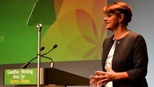 Leanne Wood addressing Plaid Cymru Conference