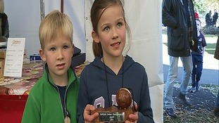 Kate McLuckie with her Junior Conker Champion trophy