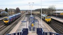 Trains pass through Church Fenton, North Yorkshire