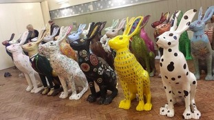 Parade of hare sculptures