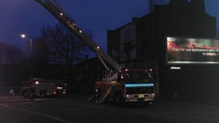 Fire engines at scene of fire