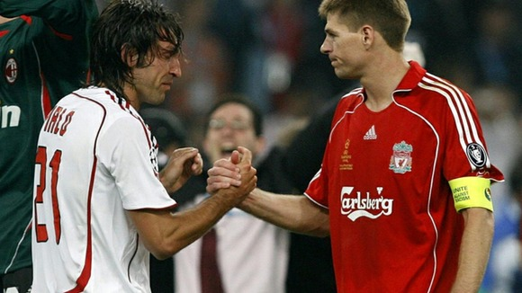 Andrea Pirlo with Steven Gerrard after the 2005 Champions League Final.