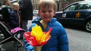 Little Thomas brought his own torch