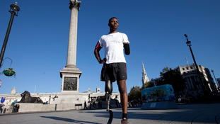 Ben McBean in Trafalgar Square before setting off on his run in aid of the Poppy Appeal