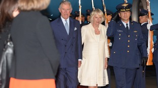 The Prince of Wales and Duchess of Cornwall arriving in Botoga.