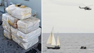 10 large packages of cocaine were confiscated from a yacht in the Caribbean.