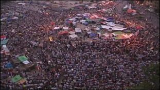 Egyptians gather in Tahrir Square in anticipation of the election results