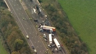 Aerial of M5 crash