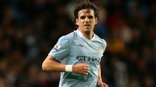 Owen Hargreaves in action for Manchester City at the Ethiad Stadium in the Premier League playing football