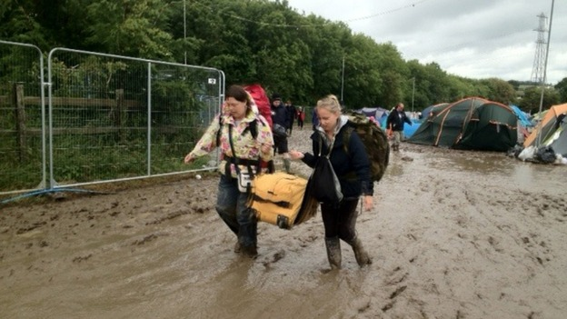 Campers start to leave the Isle of Wight festival
