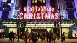 Christmas lights and shoppers outside Selfridges in 2013