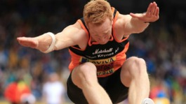 Greg Rutherford in the mens long jump during the Aviva UK Trials and Championships at the Alexander Stadium, Birmingham