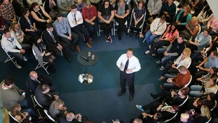 Prime Minister David Cameron holds a PM Direct event with staff at the O2 Call Centre in Preston Brook, Runcorn, Cheshire