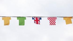Bunting in Skipton decorated as part of the route on stage 1 of the Tour de France.