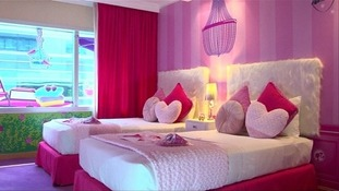 Inside the world's first Barbie-themed hotel room