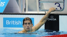 Chris Walker-Hebborn after finishing in the first Men's Open 200m Backstroke Semi Final, British Gas Championships, March 2012