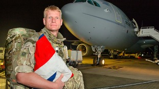 Wing Commander Matt Radnall, Royal Air Force Regiment has arrived home on British soil