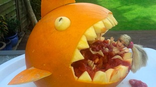 Mary Shephard's ocean themed pumpkin