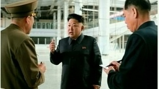 Kim Jong-un inspecting the construction site of Pyongyang International Airport.