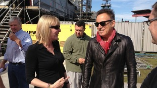 Bruce Springsteen arrives at the Isle of Wight Festival