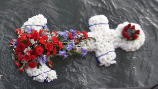 Wreaths were lowered into the sea above the wreck.