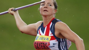 Goldie Sayers competes in the Javelin during the Aviva Trails and Championships at the Alexander Stadium, Birmingham