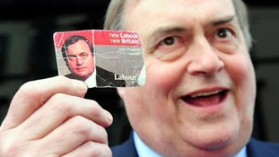 Former deputy prime minister John Prescott, shows his 1997 Labour card.