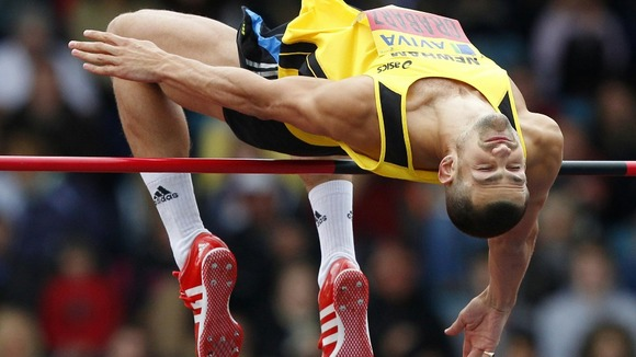 Robbie Grabarz competes in the high jump during the Aviva Trials and Championships at the Alexander Stadium, Birmingham.