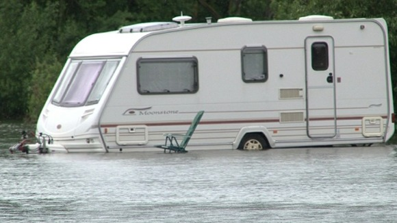 Flooded caravan