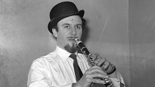 Acker Bilk sporting his signature bowler hat and goatee
