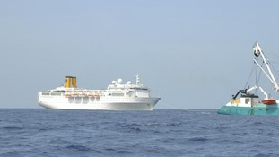 The Costa Allegra being towed by French fishing vessel, The Trevignon, in the Indian Ocean,