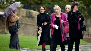Actress Julia Sawalha (second left) was among those who paid their respects