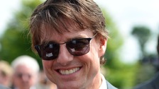 Tom Cruise has been filming a high-flying screen stunt in Cambridgeshire.