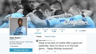 Yaya Toure's twitter account