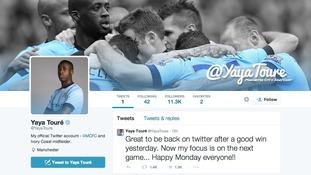 Yaya Toure's twitter account