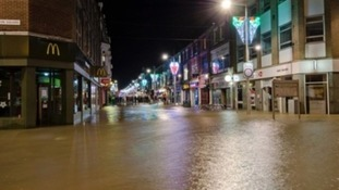 Flooding in the town centre of Lowestoft during the storm surge of December 2013.
