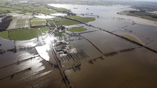 The flooded Somerset Levels in February 2014