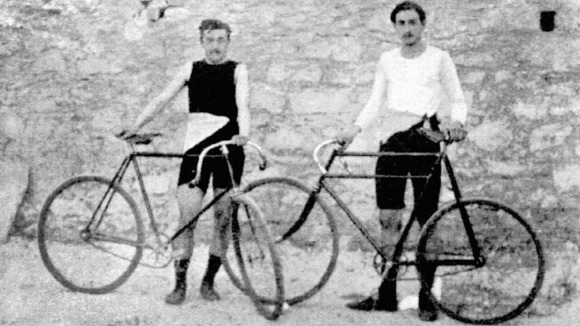 1896: France's Leon Flameng, gold medallist in the 100km, and Paul Masson, gold medallist in the Sprint, 2000m and 10000m