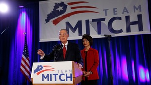 The Republican leader in the Senate, Mitch McConnell, after winning his Kentucky seat.