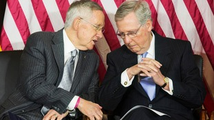 Harry Reid speaking to his Republican counterpart Mitch McConnell.